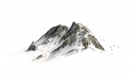 high view: Snowy Mountains Mountain peak separated on white background