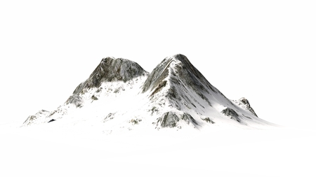 Snowy Mountains Mountain peak separated on white background