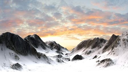 雪に覆われた山山頂
