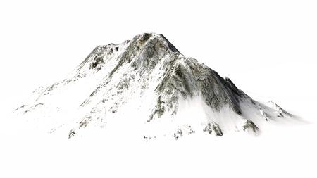 Snowy Mountains Mountain peak and lake separated on white background