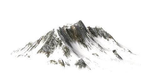 Snowy Mountains Bergtop en meer gescheiden op een witte achtergrond Stockfoto