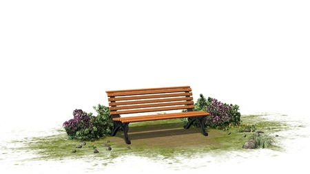 separated: Park bench with grass and bushes separated on white background