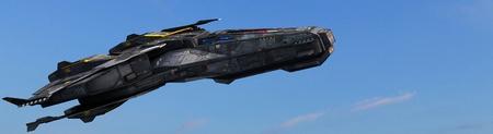 Science-Fiction-Raumschiff in den Himmel fliegen durch die Atmosphäre Standard-Bild - 40312831