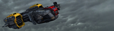 space invaders: Science fiction spaceship in the sky flying through the Atmosphere