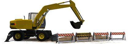 roadblock: excavator behind Under Construction roadblock isolated on white background