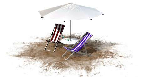 deck chairs: Deck chairs and umbrella isolated on white background Stock Photo