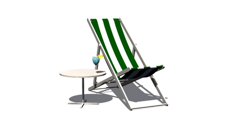deck chair isolated: Deck chair and table with cocktail isolated on white background Stock Photo