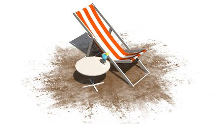deck chair: Deck chair and table with cocktail isolated on white background Stock Photo