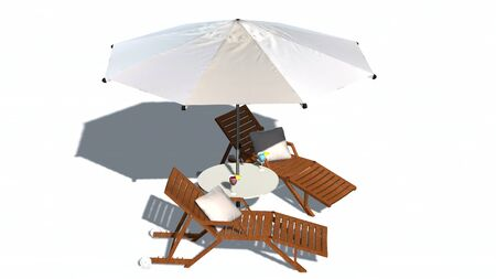 deck: Deck chairs and umbrella isolated on white background Stock Photo