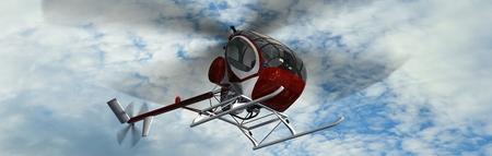 pilot light: Light Helicopter fly in Stock Photo