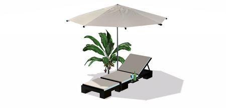 deckchair: Deckchair and umbrella isolated on white background