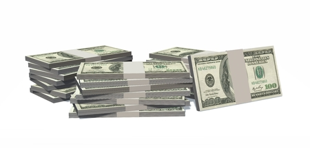 five dollar bill: Stacks of hundred dollars bills isolated on white background Stock Photo