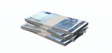 20 euro: Stacks of 20 euro bills isolated on white background