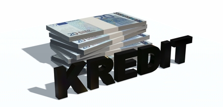 20 euro: Credit 3d lettering ago 20 Euro bills isolated on white background Stock Photo
