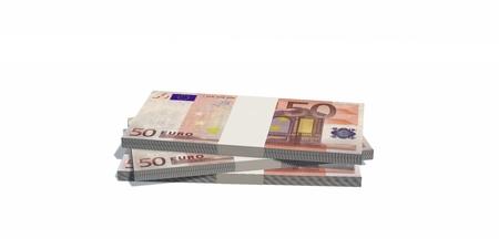 50 euro: Stacks of 50 euro bills isolated on white background