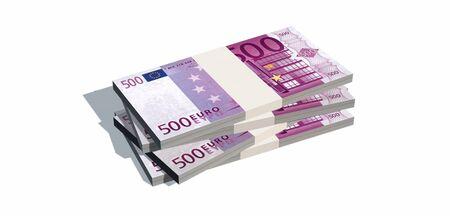 Stacks of 500 euro bills isolated on white background Stock Photo