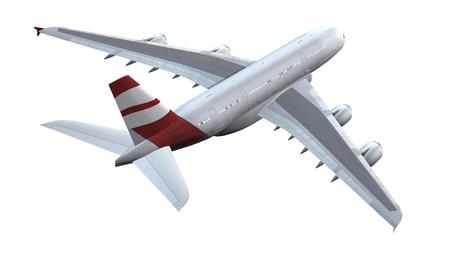Modern Passenger airplane in flight isolated on white background
