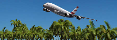 tarpaulin: Modern Passenger airplane in flight over palm on the beach panorama Stock Photo