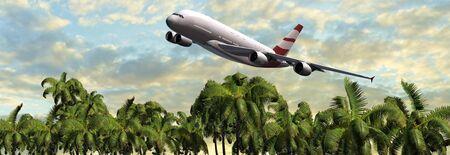 beach panorama: Modern Passenger airplane in flight over palm on the beach panorama Stock Photo