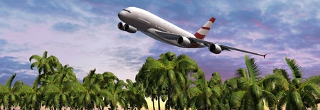 Modern Passenger airplane in flight over palm on the beach Stock Photo