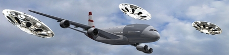 escorted: modern passenger airplane escorted by Flying Saucer