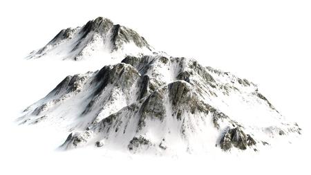 Snowy Mountains - Mountain Peak - separated on white white background