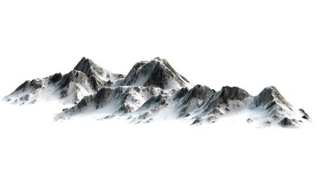 눈 덮인 산 - 산 피크 - 흰색 흰색 배경에 구분