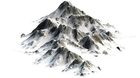 snow mountains: Snowy Mountains - Mountain Peak - separated on white white background