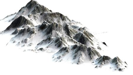 Snowy Mountains - Mountain Peak - gescheiden op witte witte achtergrond
