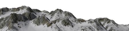 Snowy Mountains - Berggipfel Panoramic - auf weißem Hintergrund getrennt Standard-Bild - 42157505