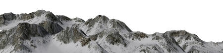 Snowy Mountains - Mountain Peak Panoramic - separated on white background