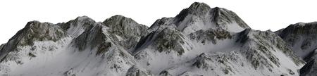 Snowy Mountains - Mountain Peak Panoramic - separated on white background