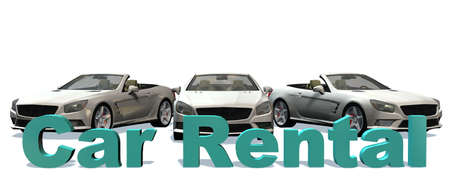 cabriolet: Car Rental 3D Lettering with cabriolet cars in background - isolated on white background