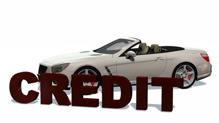 cabriolet: Credit 3D Lettering with cabriolet car in background - isolated on white background Stock Photo