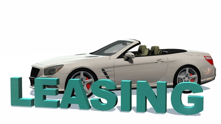 leasing: Leasing 3D Lettering with cabriolet car in background - isolated on white background