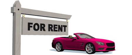 cabriolet: For Rent signpost with cabriolet car in background - isolated on white background