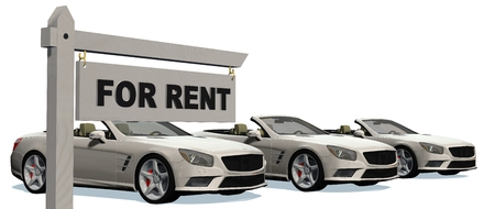 cabriolet: For Rent signpost with cabriolet cars in background - isolated on white background Stock Photo