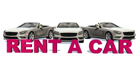 cabriolet: Rent A Car 3D Lettering with cabriolet cars in background - isolated on white background