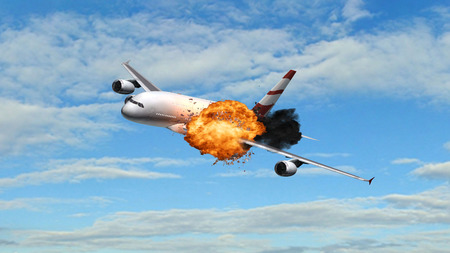 Passenger Airplane with at explosion in the sky