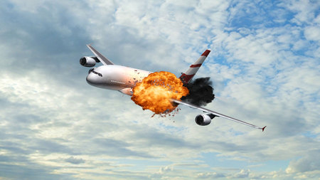 tarpaulin: Passenger Airplane with at explosion in the sky