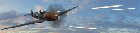 avion de chasse: Fighter allemande avion BF-109 en combat tournoyant