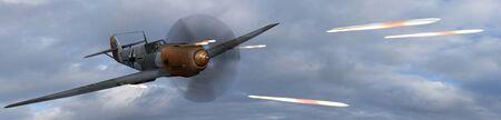 avion chasse: Fighter allemande avion BF-109 en combat tournoyant