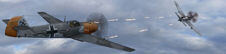 wwii: German Fighter Plane BF-109 in dogfight