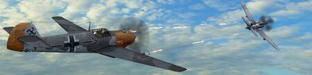 fighter plane: German Fighter Plane BF-109 in dogfight