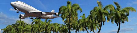 tropical beach panoramic: Passenger airplane in flight over palm trees Panorama of a tropical Iceland Stock Photo