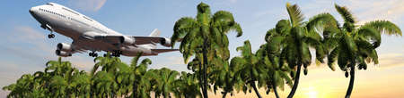 tarpaulin: Passenger airplane in flight over palm trees in sunset panorama