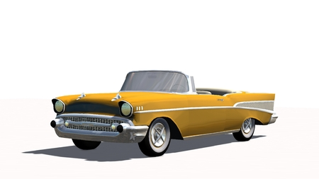 Classic US Car Oldtimer cabriolet isolated on white background