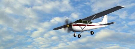 built: most popular light aircraft ever built with single propeller in fly Stock Photo