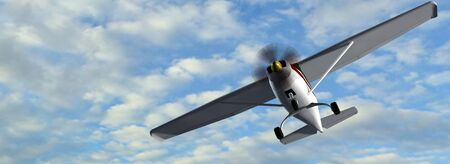 light aircraft: most popular light aircraft ever built with single propeller in fly Stock Photo