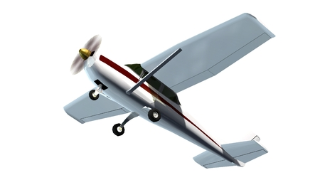 light aircraft: most popular light aircraft ever built with single propeller Isolated on a white background